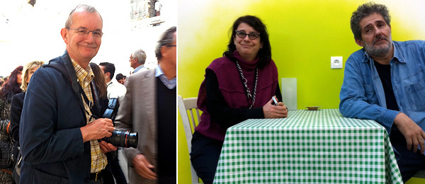 Left: Artist Martin Parr. Right: Air de Paris's Florence Bonnefous and Edouard Merino. (Photos: Nicolas Trembley)