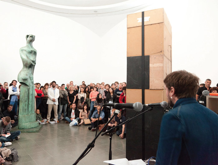 Mark Leckey, BigBoxStatueAction, 2003/2011. Performance view, May 12, 2011.