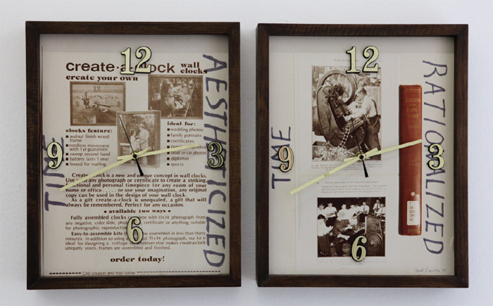 "Fred Lonidier, Create-A-Clock, 1978, diptych, mixed media, each panel 15 x 12""."