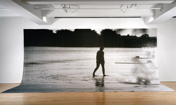 "Annette Lemieux, Walking on Water Revisited, 2000, water-based ink on canvas, 10' 8"" x 25' x 5' 4""."