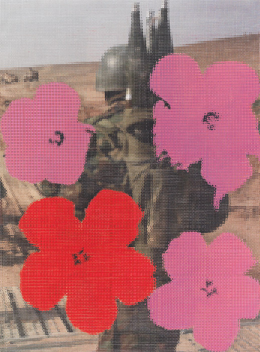 "John Sparagana, Untitled BTE #6: Afghanistan, American Soldier/Andy Warhol ""Flowers"" 1964, 2010, sliced and mixed ink-jet prints, oil pastel on paper, 59 5/8 x 44 1/8""."