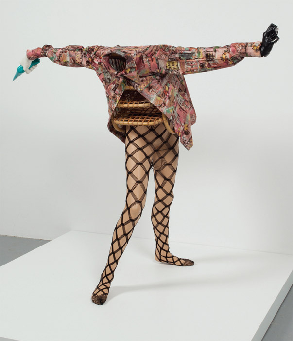 "Valérie Blass, Femme panier (Basket Woman), 2010, stockings, found shirt, hand tool, basket, paint, mannequin, 52 x 59 x 32""."