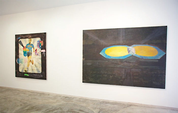 "View of ""Dougal McKenzie,"" 2011. From left: Through the Fog of History, Stumbling Metaphors Loom (Portrait of Lasse Virén), 2009–11; The Temperature of Black (1972), 2011."