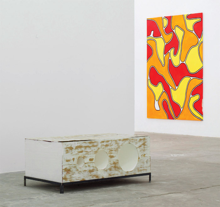 "View of ""Emil Michael Klein and Kaspar Müller,"" 2011. From left: Kaspar Müller, Sans Titre (Boîtes) (Untitled [Boxes]), 2011; Emil Michael Klein, Komposition in Rot, Orange und Gelb (Composition in Red, Orange and Yellow), 2011."