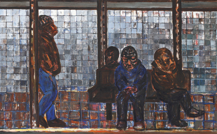 "Suh Yongsun, People Waiting Subway at 14th Street Station, 2010, acrylic on canvas, 56 1/2 x 90 3/4""."