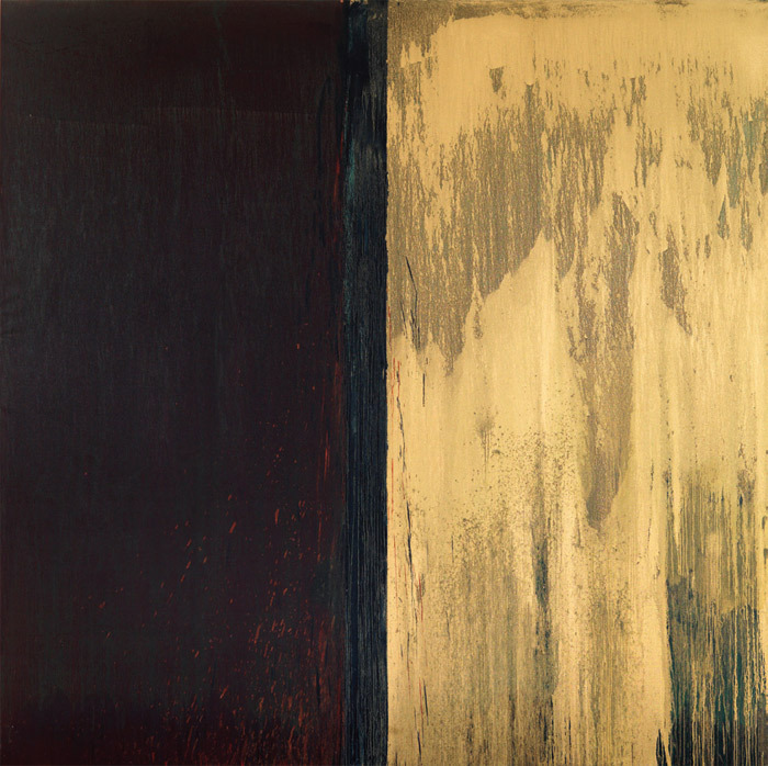 "Pat Steir, Winter Group 3: Red, Green, Blue and Gold, 2009–11, oil on canvas, 10' 11 5/8"" x 11' 3/8"". From the series ""Winter Paintings,"" 2009–."
