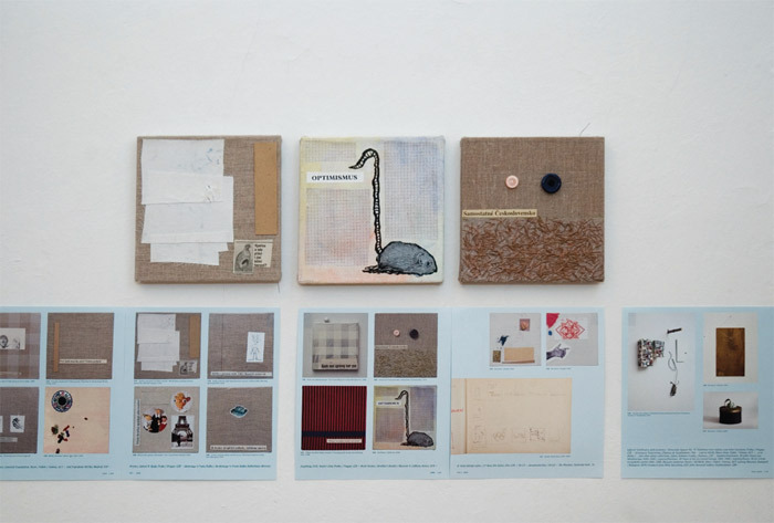 "View of ""Josef Dabernig,"" 2011.View of ""Jiří Kovanda,"" 2011. Top row, from left: Will the Birds and Other Common Species Die Off In Our Country?, 1999; Optimism, 1999; Independent Czechoslovakia, 1999. Bottom row: Pages from catalogue, 2010."