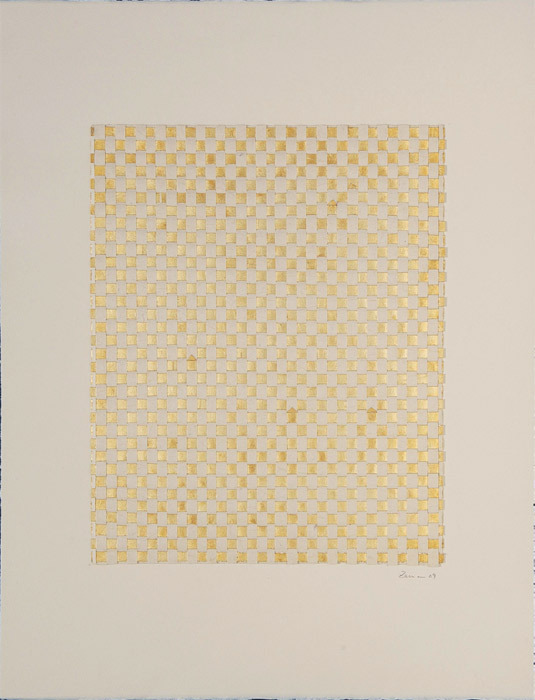 "Zarina Hashmi, Untitled I, 2009, paper, gold leaf, 16 1/2 x 13""."