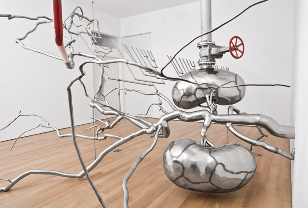 "Roxy Paine, Distillation, 2010, stainless steel, glass, paint, pigment. Installation view. From the series ""Dendroid,"" 1998–."