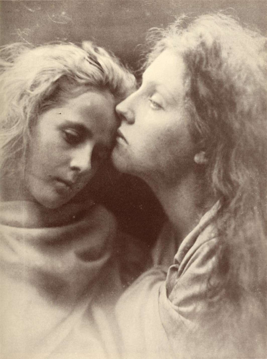 "Julia Margaret Cameron, The Kiss of Peace, 1869, albumen print from wet-plate collodion negative, 12 3/4 x 9 1/2""."