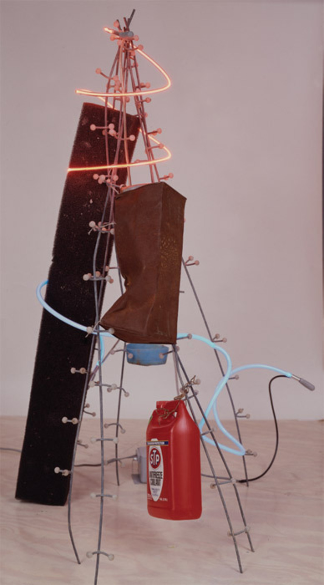 "Keith Sonnier, Catahoula, 1994, mixed media, neon, found objects, 56 x 29 x 24"". From the series ""Tidewater,"" 1994."