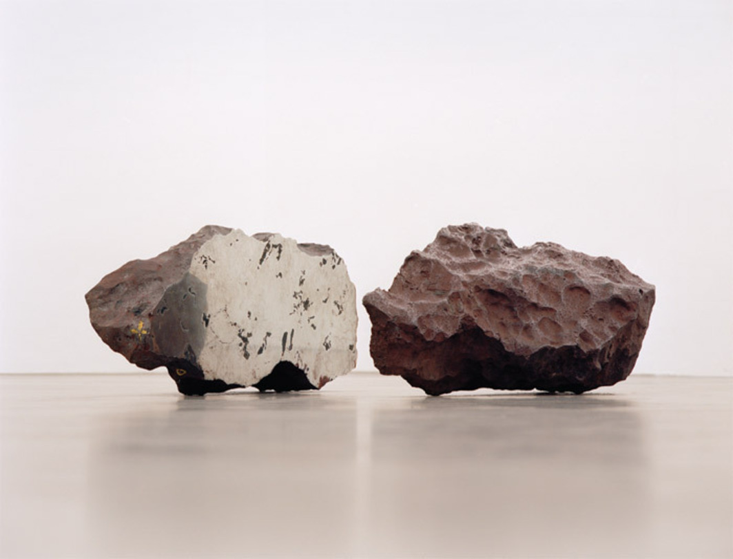 "Guillermo Faivovich & Nicolás Goldberg, El Taco, 2010, iron and nickel, two halves, each approx. 23 5/8 x 51 x 63""."