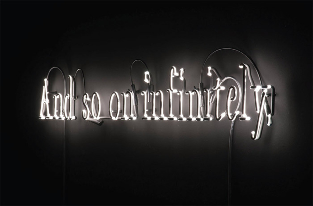 "Joseph Kosuth, Texts for Nothing #3, 2010, glass, white neon, black paint, 8 1/8 x 44 5/8""."