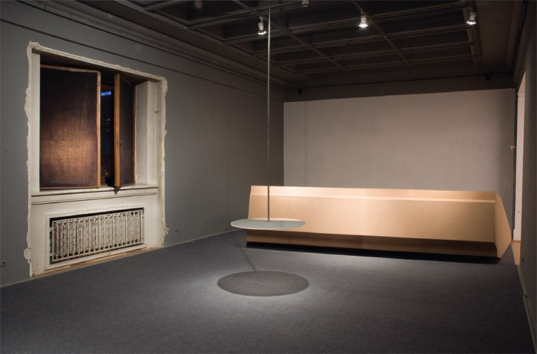 "View of ""Simone Ruess,"" 2010. From left: Okno (Palace Window), 2010; Żyrandol (Chandelier), 2010; Kaseton (Ceiling Panel), 2010."