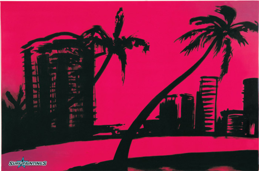 "Scott Redford, Surf Painting/Black Palms, 2001, resin, decal, fiberglass, and acrylic on foam, 48 1/4 x 73 1/8""."