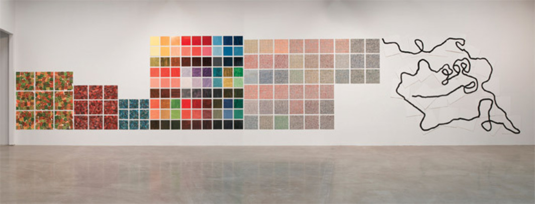 "Jennifer Bartlett, Recitative (detail), 2009–10, enamel, silk screen, and baked enamel on 372 steel plates, overall 11' 2"" x 158' 3""."