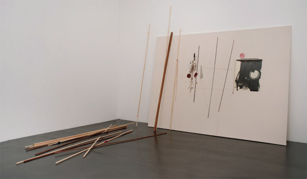 "Seb Patane, Eleventh to the North, 2011, acrylic, ballpoint pen, and colored pencil on canvas, wood, and tape, 90 x 120""."