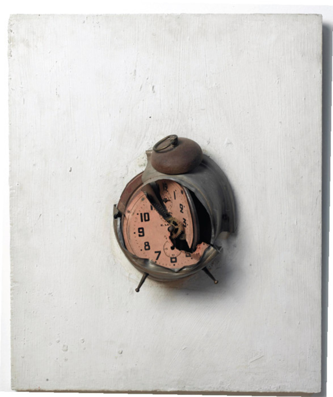 "Arman, Arrêt de temps (Time Stop), 1963, alarm clock on wood panel, 18 1/8 x 14 1/8""."