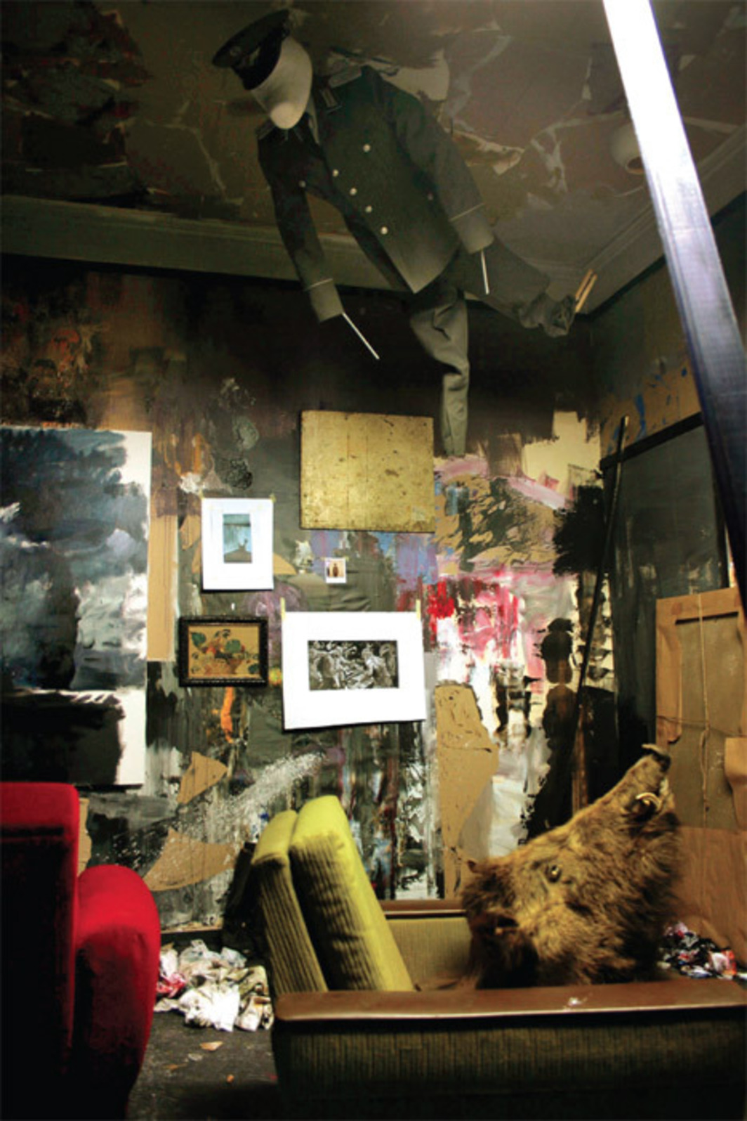 Adrian Ghenie, Dada Room, 2010, mixed media. Installation view.