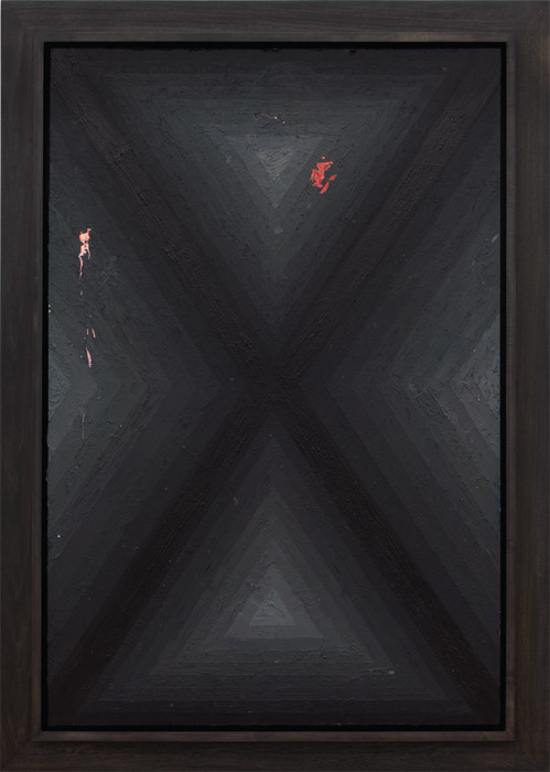 "Julian Hoeber, Execution Changes 19 (XS Q1 MJ LC Q2 RMJ LC Q3 MJ LC Q4 LMJ LC), 2011, acrylic and graphite on panel, framed, 62 1/2 x 44 1/2""."