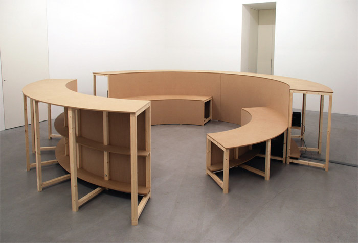 "Anna Barham, Arena, 2011, wood and MDF, 3' 3 3/8"" x 13' 11 3/8"" x 13' 11 3/8""."