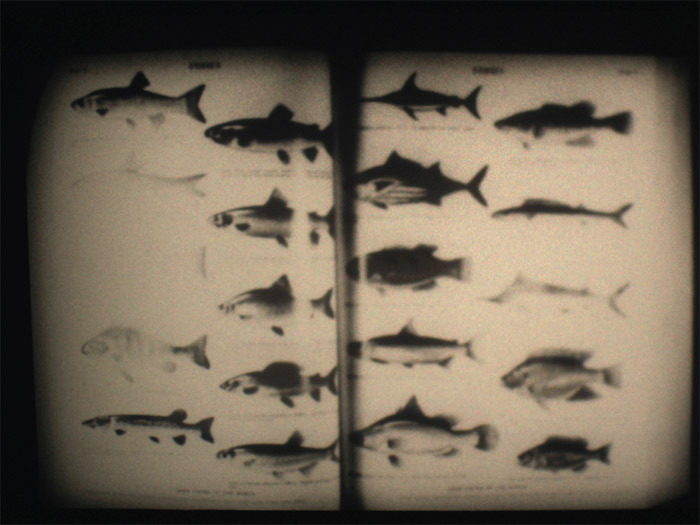 "John Latham, Encyclopaedia Britannica, 1971, still from a black-and-white film in 16 mm, 6 minutes. From ""Atlas."