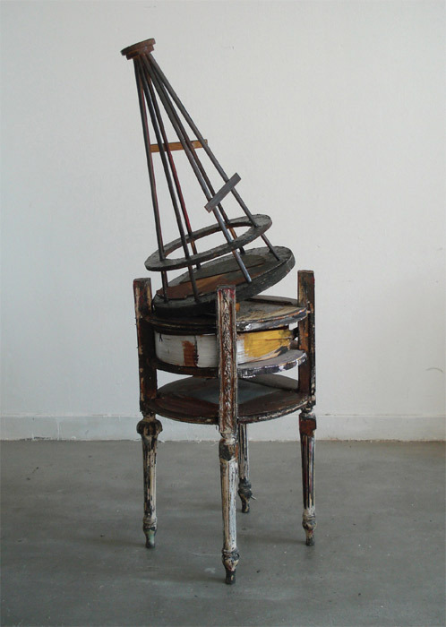 "Kostis Velonis, Reconstruction of the model of Vladimir Tatlin's monument to the Third International as an instrument of research for domesticity, 2009, wood, acrylic, veneer, plywood, spray paint, 43 1/4 x 11 3/4 x 11 3/4""."