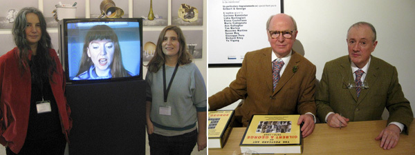 Left: Dealers Isabella Bortolozzi and Marta Lusena. Right: Gilbert & George.