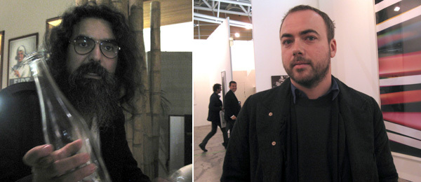 Left: Dealer Rodrigo Mallea Lira. Right: Artist Walead Beshty.