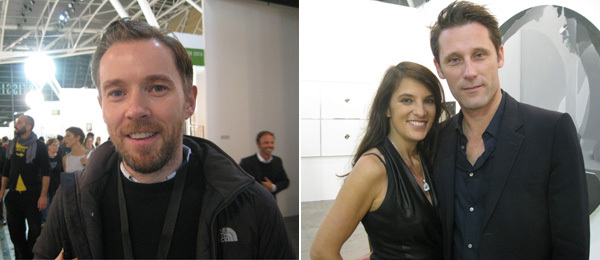 Left: Artist Duncan Campbell. Right: Dealers Claudia Cargnel and Frederic Bugada.