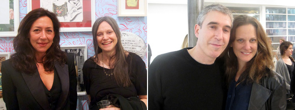 Left: Dealer Shaun Caley Regen with artist Sue Williams. Right: Artists Adam McEwen and Andrea Bowers.