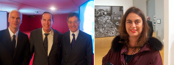 Left: MoMA PS1 director Klaus Biesenbach with filmmaker Kenneth Anger and Jeffrey Deitch. Right: Collector Maja Hoffmann.