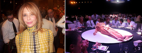 Left: Rosanna Arquette. Right: Jerry Brown's table.