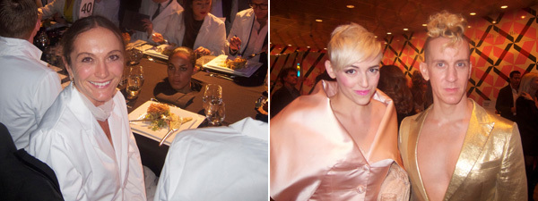 Left: Artist Vanessa Beecroft. Right: Artist Rosson Crow and designer Jeremy Scott.