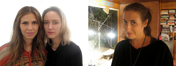 Left: Collector Dasha Zukhova with photographer Rachel Chandler. Right: LAXART director Lauri Firstenberg.