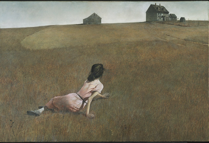 "Andrew Wyeth, Christina's World, 1948, tempera on panel, 32 1/4 x 47 3/4""."