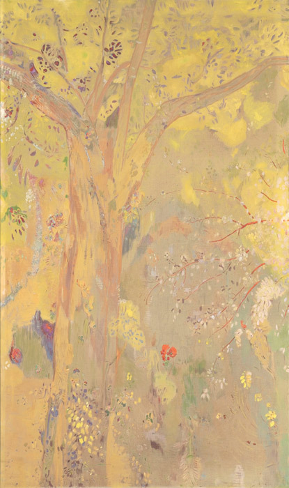 "Odilon Redon, Domecy Decoration: Trees, Yellow Background, 1901, oil, distemper, 94 5/8 x 72 7/8""."