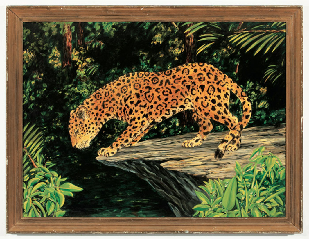 "William Leavitt, Jaguar (from ""The Tropics""), 1974, oil on canvas, 34 1/4 x 44 1/4""."
