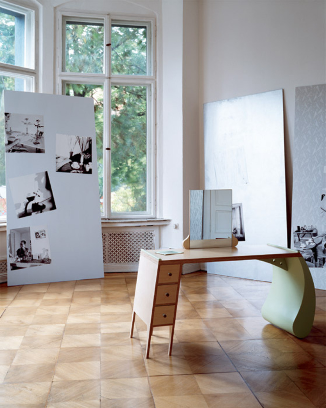 "View of ""Marc Camille Chaimowicz: Appartament . . . ,"" 2011, MD72, Berlin. Foreground: Dressing Table, 1977–2011. Background: Here and There, 1978–2009. Photo: Stefan Korte."