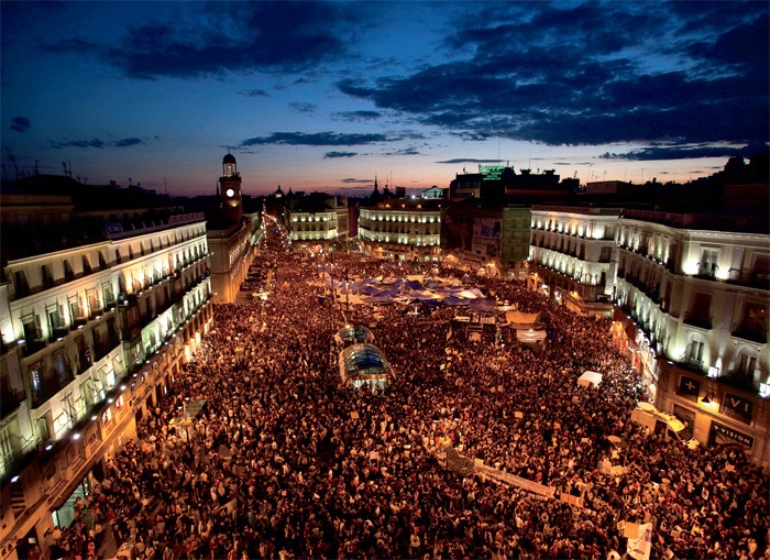 Puerta del Sol, Madrid, May 20, 2011. Photo: Arturo Rodríguez/AP.