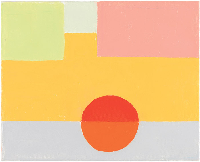 "Etel Adnan, Untitled (Beirut), 2010, oil on canvas, 9 1/2 x 11 3/4""."