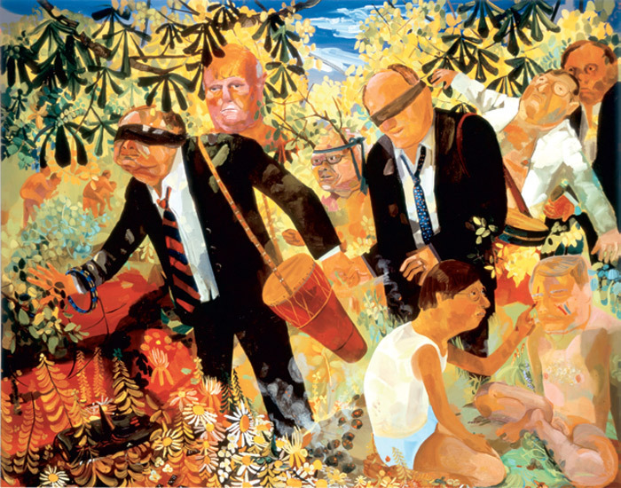 "Dana Schutz, Men's Retreat, 2005, oil on canvas, 96 x 120""."