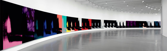 Andy Warhol, Shadows, 1978–79, silk-screened and handpainted acrylic on canvas. Installation view, Hirshhorn Museum and Sculpture Garden, Washington, DC, 2011. Photo: Cathy Carver.