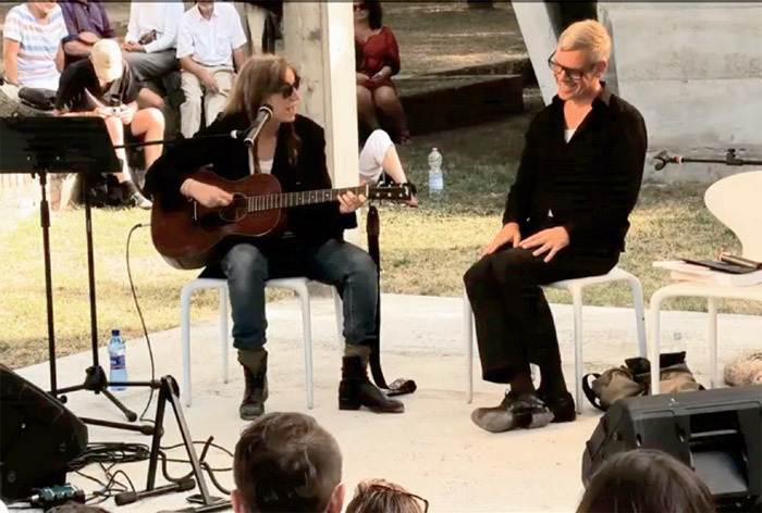 Patti Smith and Karl Holmqvist performing Rimbaud, Poetry & Rock 'n' Roll—An Expanded Conversation, Venice, September 3, 2011. From the 54th Venice Biennale.