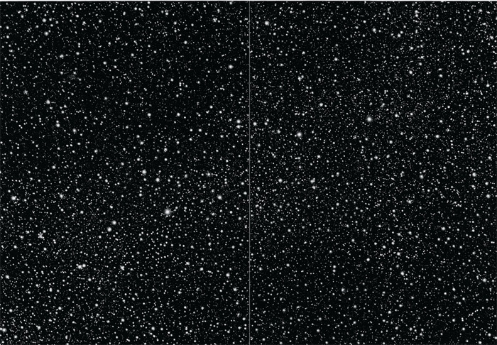"Vija Celmins, Starfield, 2010, mezzotint on paper, 26 1/2 x 35 3/4""."