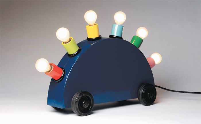 "Martine Bedin, Super Lamp, 1981, painted metal, lighting components, 13 x 23 5/8 x 7"". From ""Post- modernism: Style and Subversion 1970–1990."""