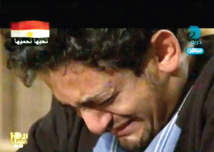 Wael Ghonim during interview with Mona el-Shazly on Egypt's Dreams TV, February 7, 2011.