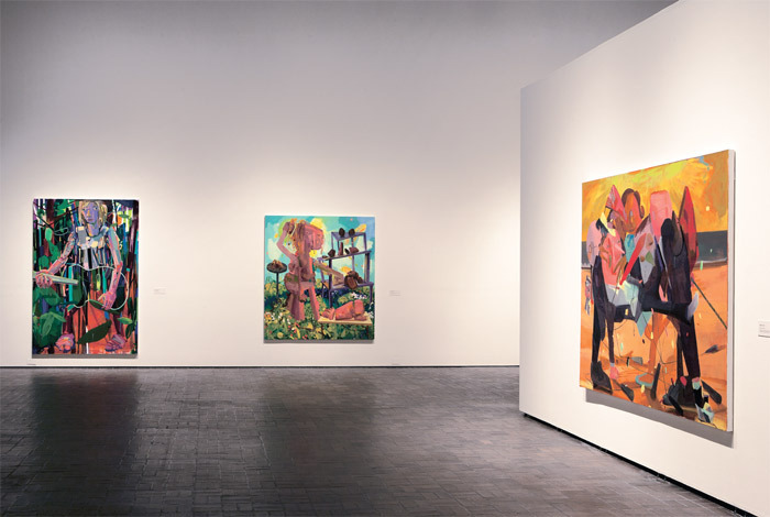 "View of ""Dana Schutz: If the Face Had Wheels,"" 2011. Neuberger Museum of Art, Purchase College, State University of New York. From left: Her Arms, 2003; Twin Parts, 2004; Party, 2004. Photo: Jim Frank."