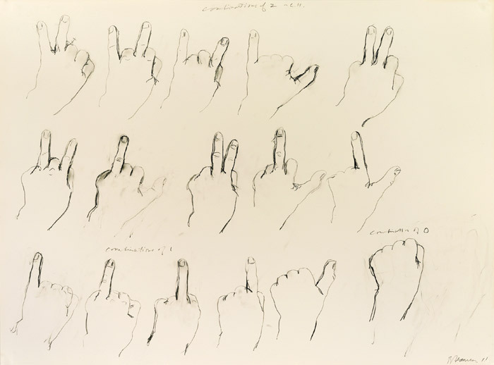 "Bruce Nauman, Left Hand Combinations of 0, 1 and 2, 2011, pencil on paper, 30 x 40""."