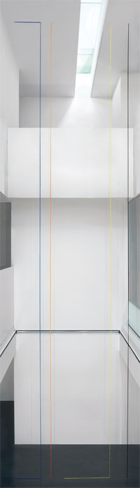 Fred Sandback, Untitled (Four-Part Construction), 1981/2011, blue, orange, yellow, and black acrylic yarn, dimensions variable.